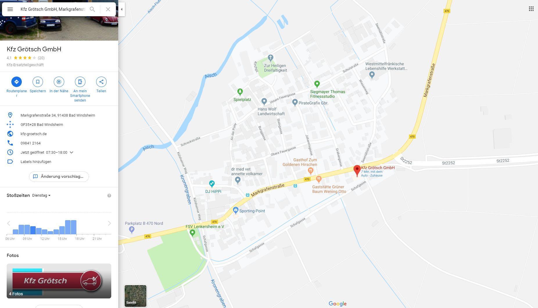 Standort von KFZ Grötsch